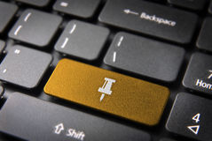 Gold keyboard Pin key, Business background Royalty Free Stock Photos