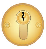 Gold keyhole Stock Photography