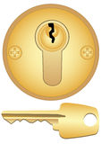 Gold keyhole and key Stock Images