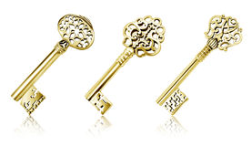 Gold keys. Group of ornate gold keys royalty free stock photo