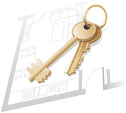 Gold keys, home plan, realty. royalty free stock image