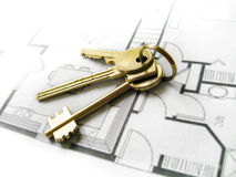 Gold keys for the new dream ho Stock Images