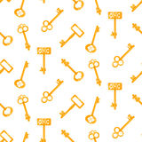 Gold keys seamless vector pattern on white. Retro cartoon key background. Royalty Free Stock Image