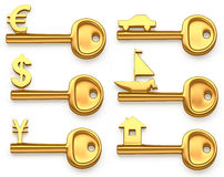 Gold keys symbolizing Euro,Dollar,Yen,House,Yacht and car. Concept illustration. Diffirent Golden keys symbolizing Euro,Dollar,Yen,House,Yacht and car Stock Photo