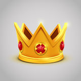 Gold king crown with red jewels. Vector illustration Royalty Free Stock Photography