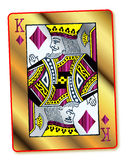Gold King Of Diamonds. The King of Diamonds in gold and silver over a white background royalty free illustration