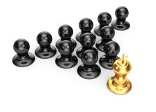 Gold king and pawns. On white background. 3d leadership concept Royalty Free Stock Image