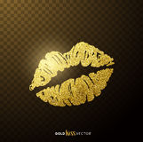 Gold Kissing Lips royalty free illustration