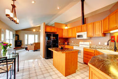 Gold kitchen room. Spacious kitchen room with vaulted ceiling and lenoleum floor. VIew of kitchen gold cabinets, island and black refrigerator Royalty Free Stock Photos