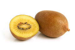 Gold kiwi fruit. On a white background Stock Photos