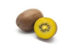 Gold kiwifruits on white background Stock Photos
