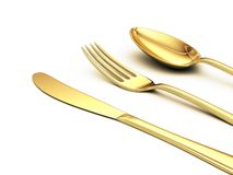 Gold knife, fork, spoon. On white with shadow close up view vector illustration
