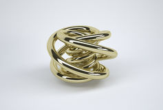 Gold Knot. Virtual torus knot made out of gold Royalty Free Stock Photo