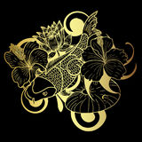 Gold Koi fish and flower japanese tattoo on black background. Beautiful line art Koi carp tattoo design ,Beautiful doodle art Koi carp tattoo design Royalty Free Stock Photo