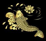 Gold-koii Fisch- und Lotosblumenvektor Stockfotografie