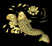 Gold koii fish and lotus flower vector. Gold koii fish vector,Gold koi carp with lotus and waves on a black background Stock Photography