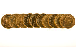 Gold Krugerrand Coins. One Ounce gold Krugerrand coins from South Africa Royalty Free Stock Photography