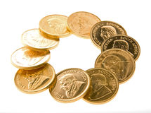 Gold Krugerrand Coins. One Ounce gold Krugerrand coins from South Africa Royalty Free Stock Image