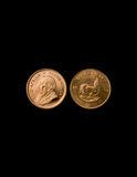 Gold Krugerrand Coins. One Ounce gold Krugerrand coins from South Africa on Stock Photography
