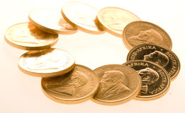 Gold Krugerrand Coins Royalty Free Stock Images
