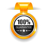 Gold label. 100% Guarantee. Black & Yellow label. 100% Guarantee. Vector illustration Stock Photography