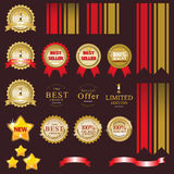Gold label for present best of product Stock Photography