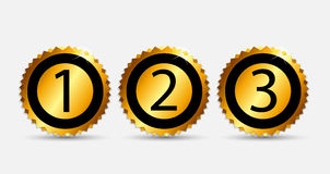 Gold Label 1, 2, 3 Vector Illustration Stock Photo