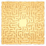 Gold labyrinth. Way to required object, search of treasures, set of inputs(entrances) and one end of a way in the middle a gold labyrinth Stock Image