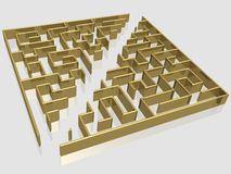 The gold labyrinth. With reflection. 3D image Royalty Free Stock Photography