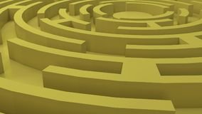 Gold Labyrinth, 3d render royalty free stock photo
