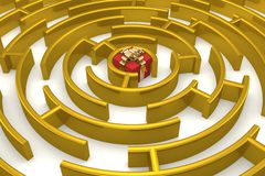Gold labyrinth with a prize. Royalty Free Stock Photography