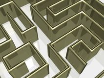 The gold labyrinth with reflection. 3D image royalty free illustration