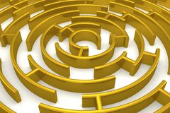 The gold labyrinth with reflection. Royalty Free Stock Photo