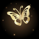 Gold Lace butterfly on brown background Stock Image