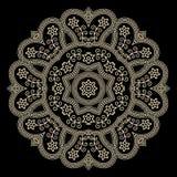 Gold lace doily. On black, round crochet ornament vector illustration