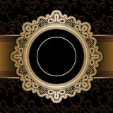 Gold lace frame Royalty Free Stock Photo