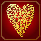 Gold lace ornamental heart. Greeting card Royalty Free Stock Photo