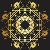 Gold lace pattern on a black background. Stock Photography