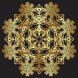 Gold lace pattern on a black background. Gold mandala. Gold pattern vector illustration