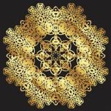Gold lace pattern on a black background. Gold mandala. Gold pattern royalty free illustration
