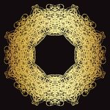 Gold lace pattern on a black background. Gold mandala. Gold pattern Stock Images