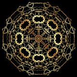 Gold lace pattern on a black background. Stock Photos