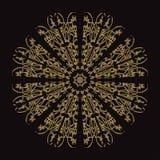 Gold lace pattern on a black background. Gold mandala. Gold pattern stock illustration