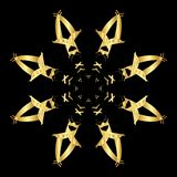 Gold lace pattern on a black background. Gold mandala. Gold pattern Royalty Free Stock Photos