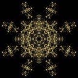 Gold lace pattern on a black background. Stock Photo