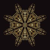 Gold lace pattern on a black background. Royalty Free Stock Photography