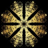 Gold lace pattern on a black background. Royalty Free Stock Image