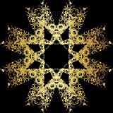 Gold lace pattern on a black background. Royalty Free Stock Photos