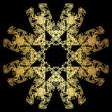 Gold lace pattern on a black background. Stock Photo