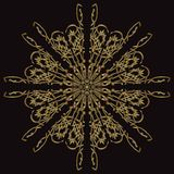 Gold lace pattern on a black background. Stock Image